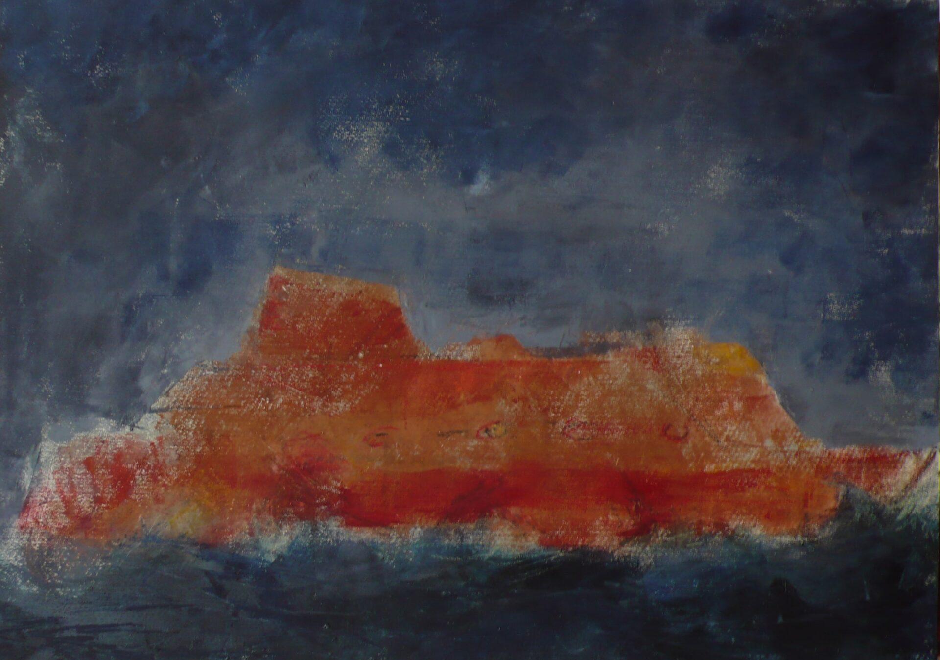 Battello 3 (olio e cera, 50cm x 70 cm)