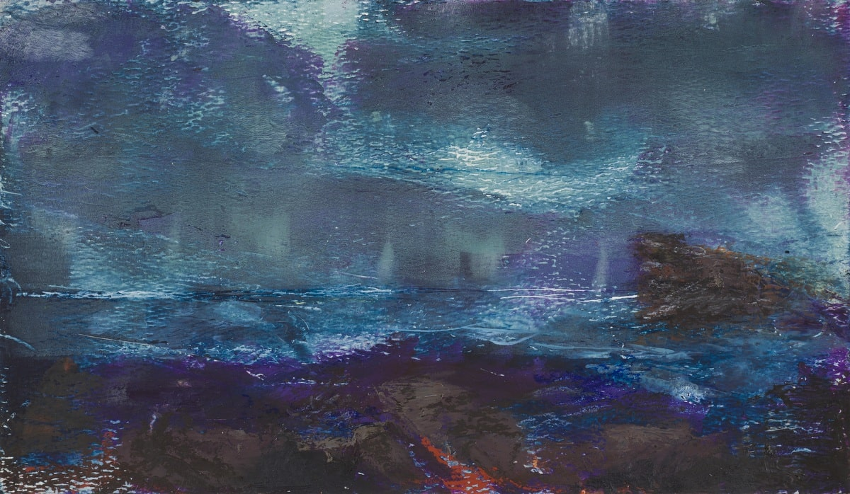 Notturno (oil and wax on paper, 16cm x 9cm)